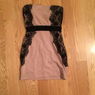 FOREVER21 PINK BLACK LACE DRESS
