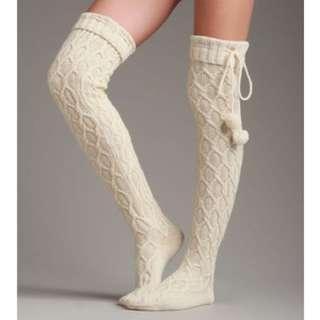 UGG Pompom Cable Knit Over-the-knee Socks
