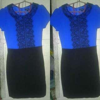 ATTITUDE Blue Dress With Black Lace