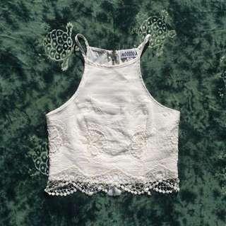 'Mooloola' Delicate White Lace Crop