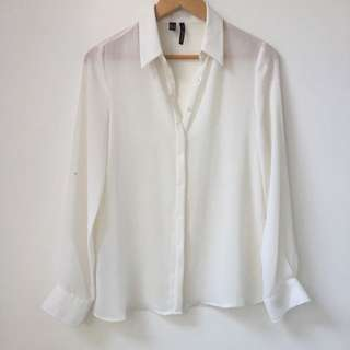 Mango Sheer White Button Up