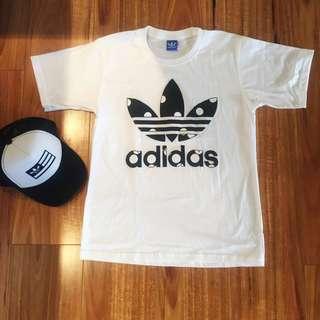 Adidas White Big Dot Top Tee T- shirt  Men & Women Unisex