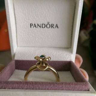 Genuine Pandora 14k Gold Flower Ring With Peridot Centre