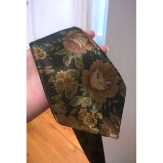 Vintage Genuine Silk Floral Formal Tie