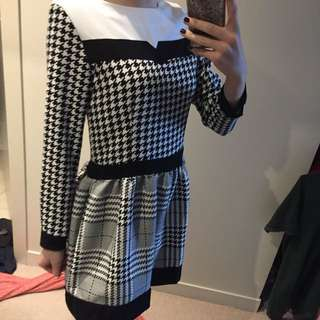 B&W Patterned Winter Dress