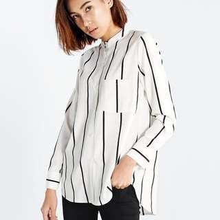 White striped mandarin collar shirt