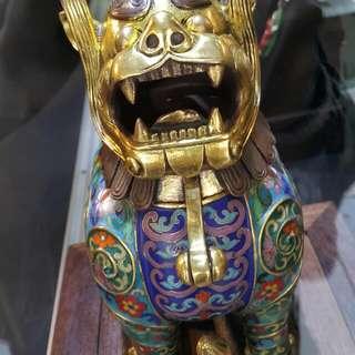 (景泰藍香爐)正品早期收藏祥獅