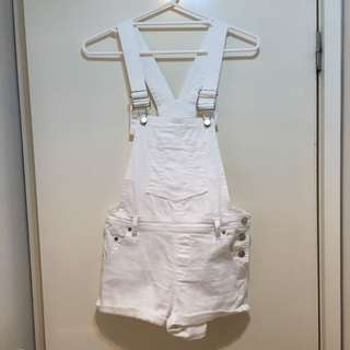 White Denim Dungarees Size 8