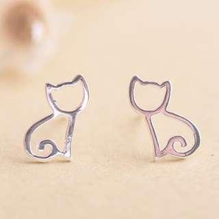 S925純銀貓咪耳飾--簍空貓咪