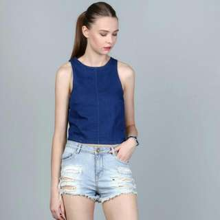 BNWT Hollyhoque Dulcie Denim Cropped Top Dark Denim
