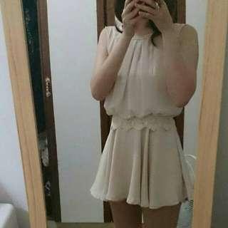 韓版米白雪紡洋裝褲裙