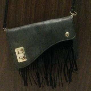 Black Fringe Clutch/Slingbag