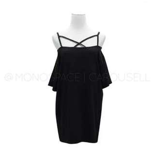Criss Cross Off Shoulder Dress in Black