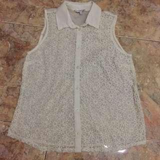 NEW LOOK Sleeveless Crochet Shirt (Size 8)