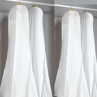 White Extra Large Wedding Dress Bridle Gown Garment Breathable Cover Storage Bag