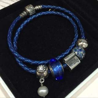 HOLD Pandora Double Leather Bracelet With 5 Charm