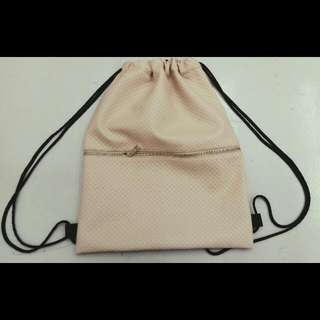 Cross Leather Drawstring Bag