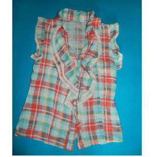 Checkered Ruffled Sleeveless
