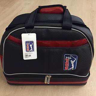 【PGA TOUR】格紋雙層衣物袋(黑酒紅)