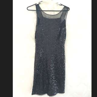 Black Sheer & Sequin Mini Dress Size 8-10
