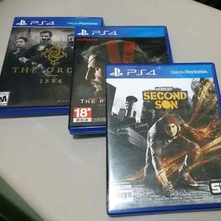 PS4 Second Son中文, MGS5中文,The order英文