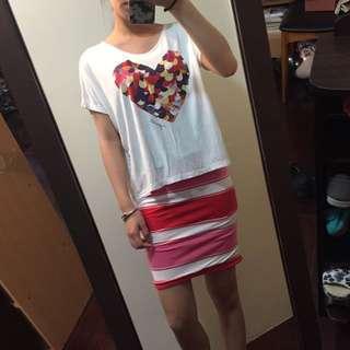 愛心白上衣+鬆緊條文粉裙子