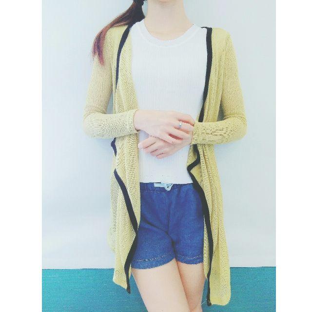二手🌸芥黃滾邊針織罩衫