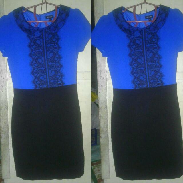 ATTITUDE Blue Dress With Black Lace