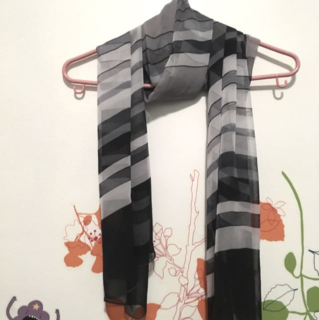 Beautiful Silky Grey Patterned Scarf