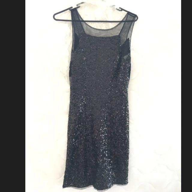 Black Sheer & Sequin Mini Dress Size 8-10
