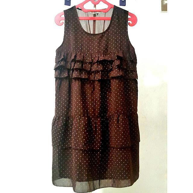 B.L.F POLKADOT MAROON DRESS