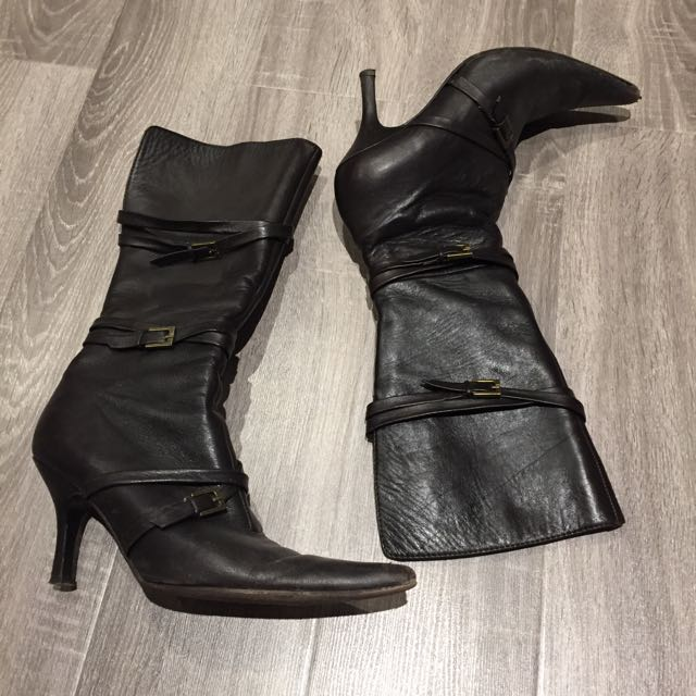 Brown Buckle Leather Boots