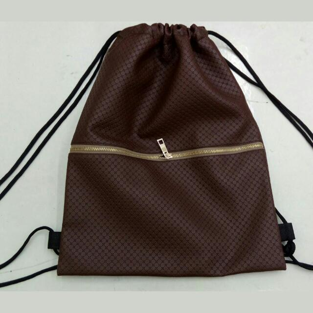 Cross Leather Drawstring Bag