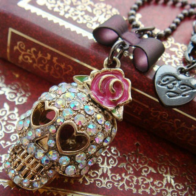 Crystal Pastel Goth Skull Necklace