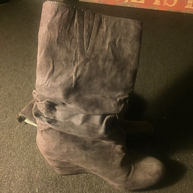 Gray- Brown Boots (wedges)