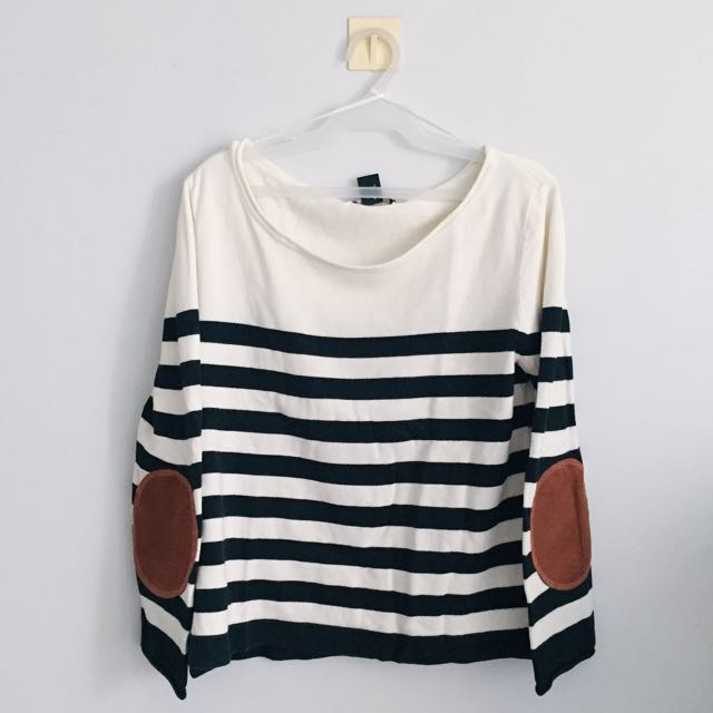 H&M Premium Striped Blouse With Elbow Pads
