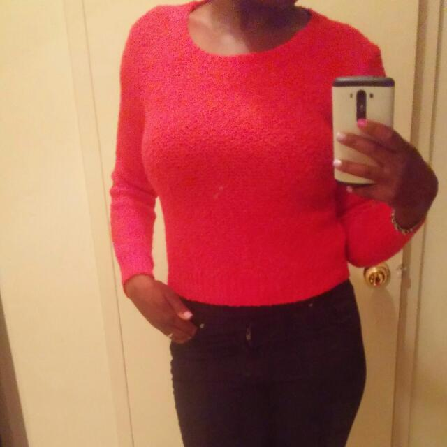 H&M Red Crop Sweater