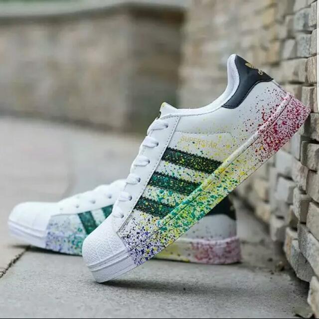 9f44bd0dd4cd INSTOCK) Adidas Superstar Paint Splash- Size 36