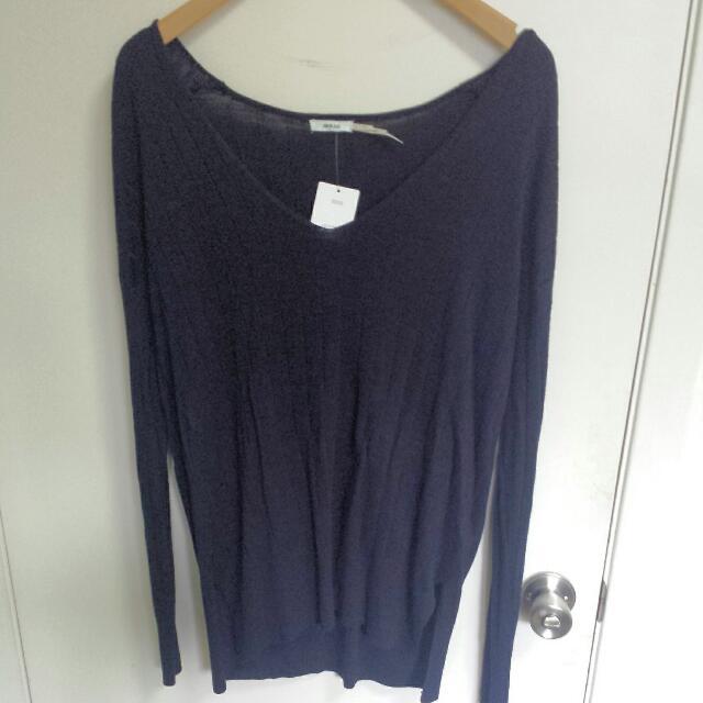 Kimchi Blue Navy Rib Longline Sweater
