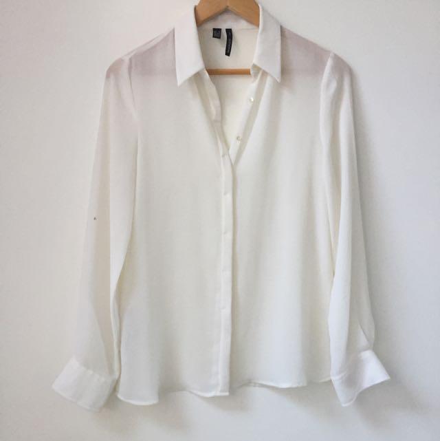 Mango Sheer White Button Up