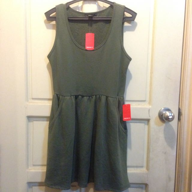 Olive Green F21 Casual Dress