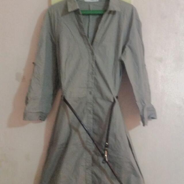 Pre Loved Casual Dress From Mango .khaki Color