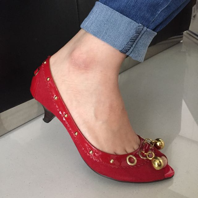 Red High Heels Shoes With Cute Bells