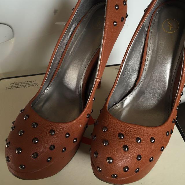 Sugar Free Tan Leather Heels