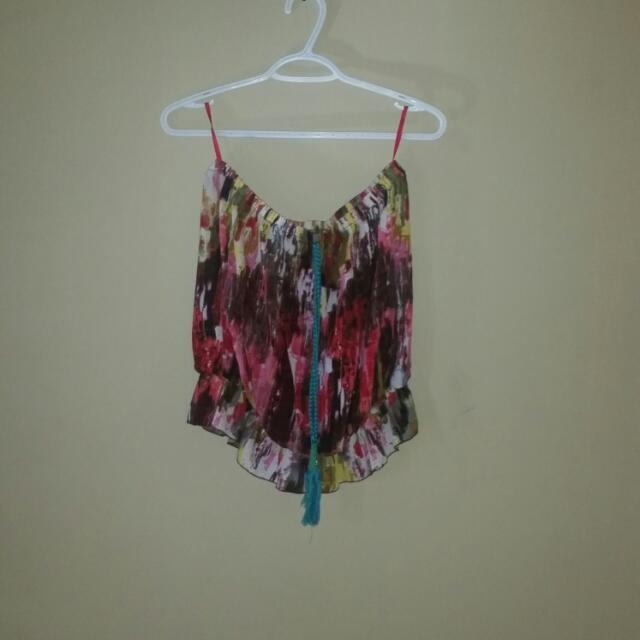 Multi Colored Strapless Top; Large