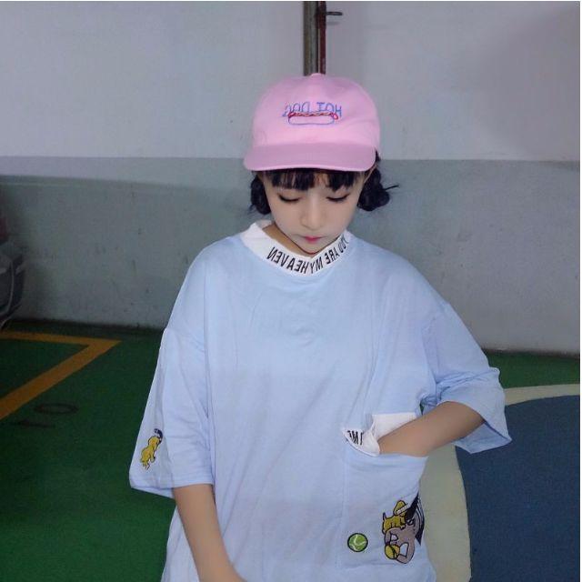 全新韓國ulzzang字母刺繡小高領口袋寬鬆大碼七分袖上衣