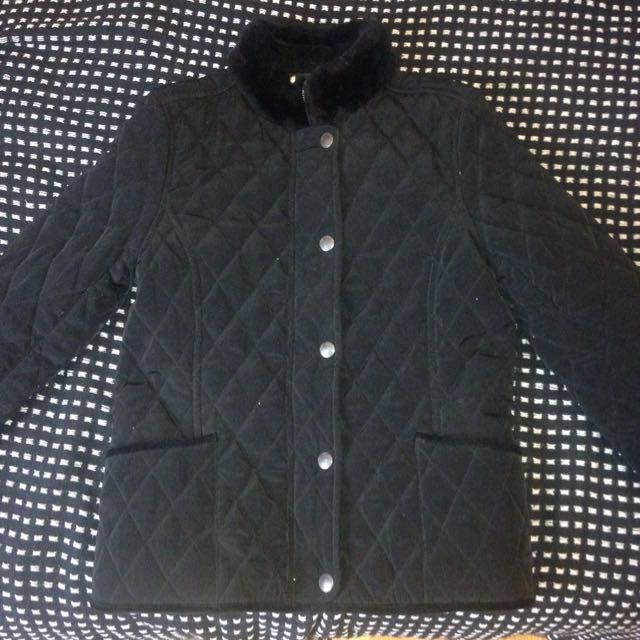 Vintage Quilted Jacket w/ Faux Fur Trim