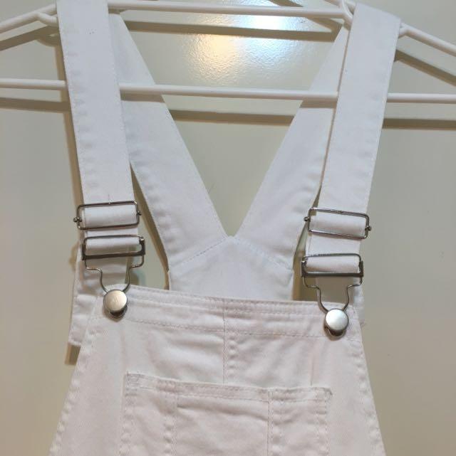 White Denim Dungarees Size 8