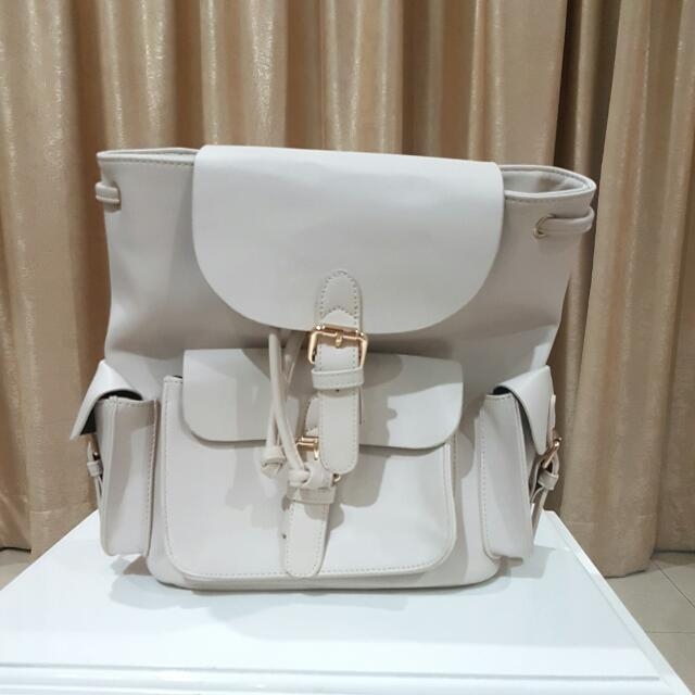 Zalora White Backpack