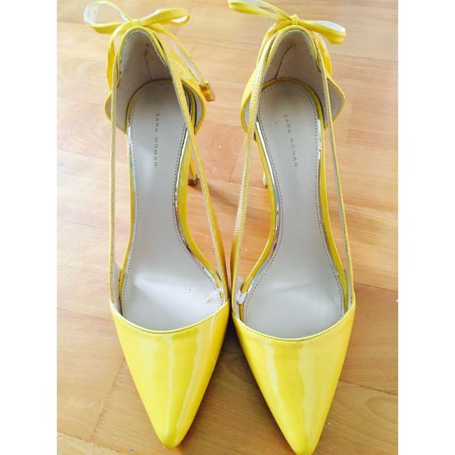 Zara 高跟鞋(亮黃)